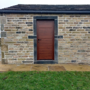 Hormann LPU42 L Ribbed Decograin Matching Side Door