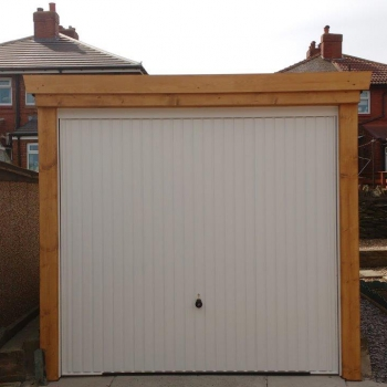 Hormann Series 2000 Up and Over Garage Door in Style 2001 Verticle Rib Complete with NEW Timber Sub Frame base coat treated